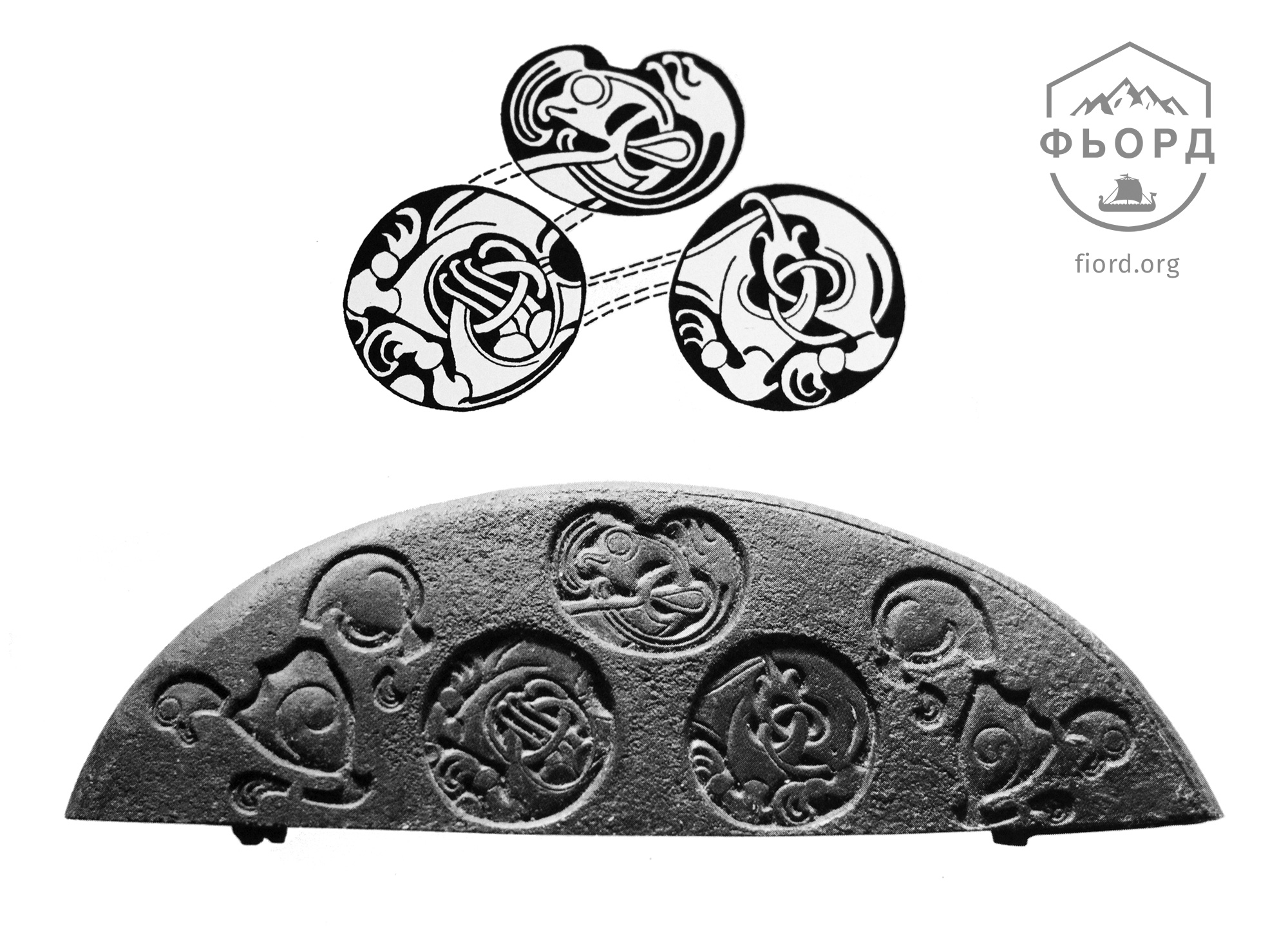 Типичный пример скандинавского стиля III/E. Бронзовое навершие меча, Хелльви, о. Готланд