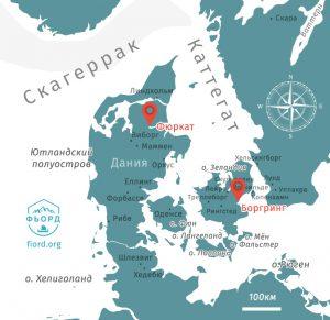 Расположение Боргринг и Фюркат на карте