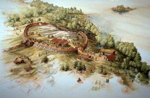 Иллюстрация укрепления на холме на острове Бирка